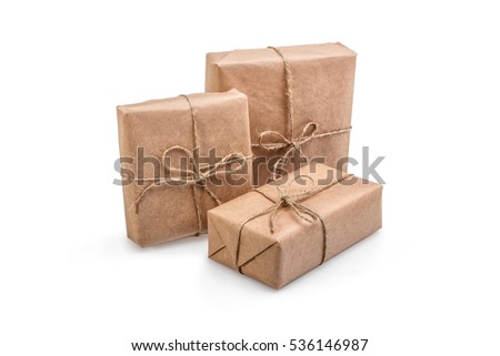 Composition of Christmas gift boxes isolated on white