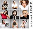 composition of crazy people over grey background - stock photo
