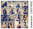 composition of different beautiful women - stock photo