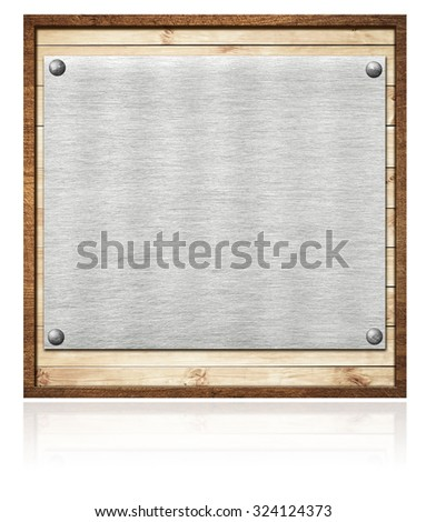 Composition of metal aluminum plaque, name plate on wooden planks and frame