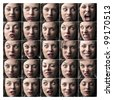 Composition of portraits of the same woman expressing different feelings and moods - stock photo