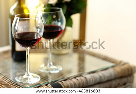 Composition of romantic dinner with wine