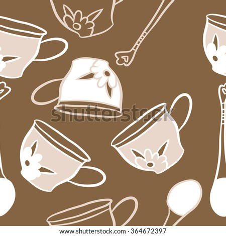Composition Of 4 Kitchen Utensils : Composition of seamless pattern, doodles, caps, teaspoons,leaves,spots ...
