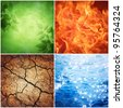 composition of the four natural elements ( grunge background) - stock photo