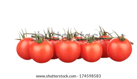 Composition of tomatoes cherry. Isolated on a white background.