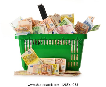 Composition with Euro banknotes in shopping basket. European Union currency