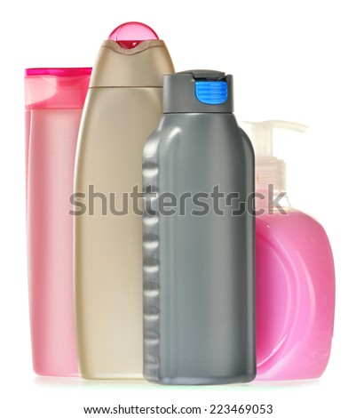 Composition with plastic bottles of body care and beauty products.
