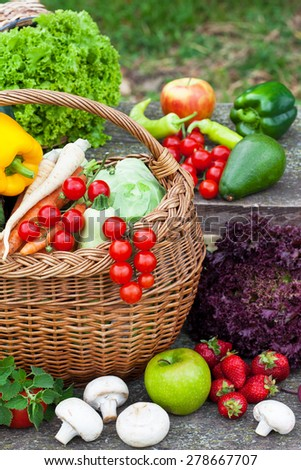 Composition with raw vegetables and wicker basket in the garden