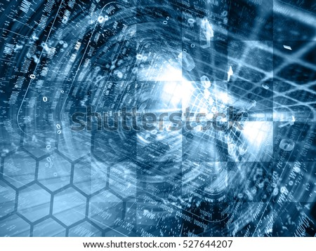 Computer background in blues with tunnel and digits.