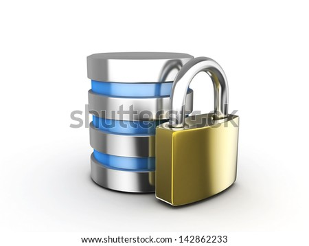 Computer Database with Metal Padlock isolated on white