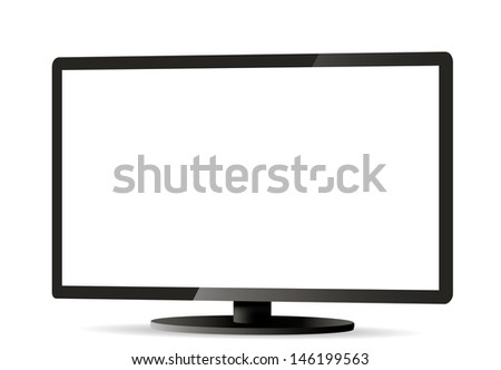 Computer display monitor isolated on white.