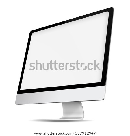 Computer display with white blank screen isolated on white background. 3D illustration.