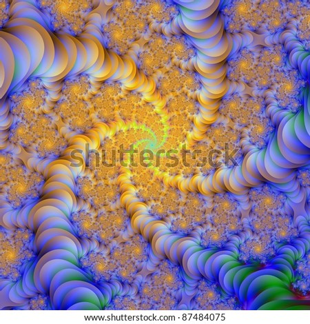 Computer generated abstract image with a spiral design in orange and blue.