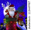 Computer-generated 3D cartoon illustration depicting Santa Claus on a rooftop, stuck in a chimney - stock photo