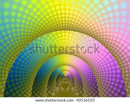 Computer generated fractal image with a tunnel design in yellow pink and blue.