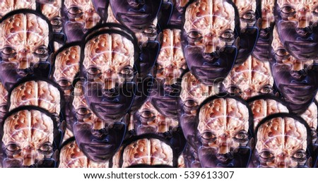 Computer generated image of surreal alien heads