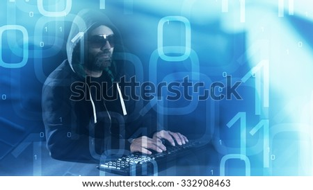 Computer hacker concept, binary code abstract background