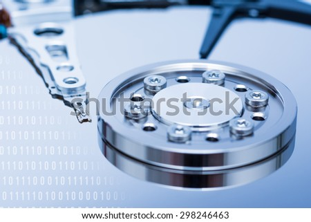 Computer Hard Disk Drive Internals And Binary Number Code