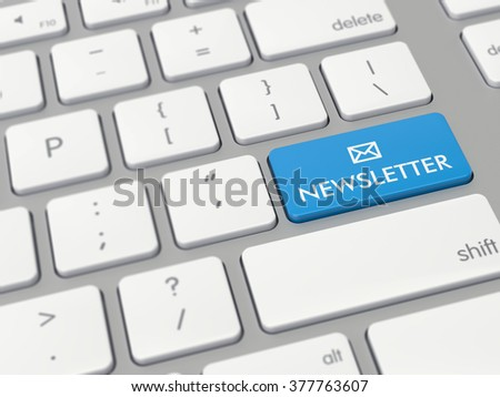 Computer key showing the word newsletter with icon