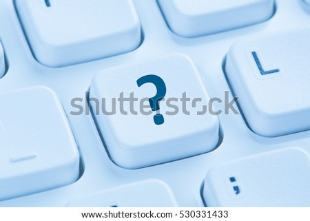 Computer keyboard question mark help blue symbol ask