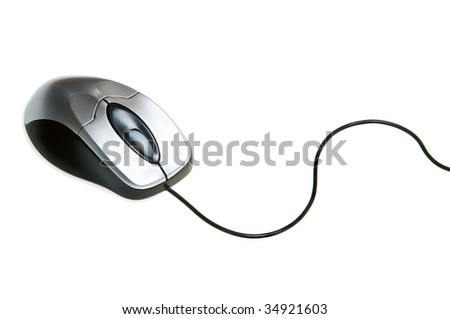 Computer mouse with a wheel on a white background