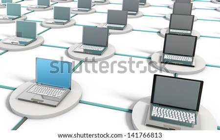 Computer Network on the Internet with PCs