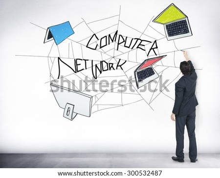 Computer Network Web Sketch Connection Concept