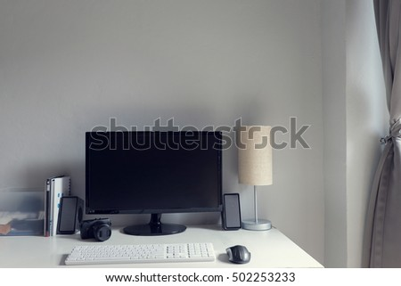 computer on table at home , workspace