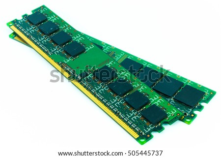 Computer Random Access Memory (RAM) on the withe background