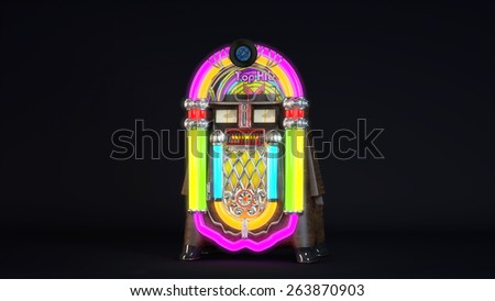 Computer rendered illustration of Realistic detailed JukeBox