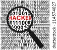 Computer Security Concept Present by Magnifying Glass Focus On The Red Hacker Text in Binary Code Background - stock photo