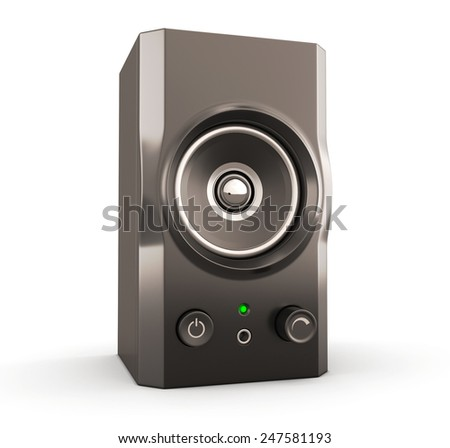Computer speakers close-up isolated on white background. 3d render image.