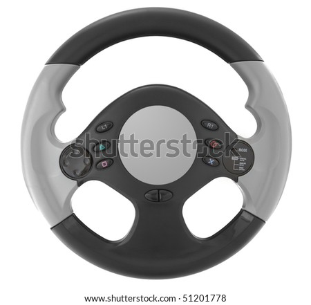 Computer steering wheel. Isolated on white.