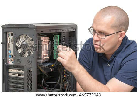 Computer Technician repairing computer system