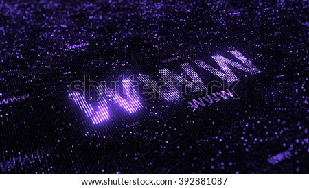 computer theme word made of random dots on fractured string background with glow, abstract digital background with depth of field, particle style illustration