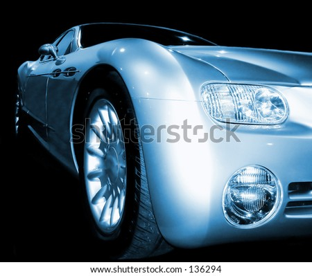 Concept car with a blue tone on a black background.