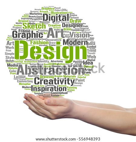Concept Conceptual Creativity Art Graphic Design Visual Word Cloud In Hand Isolated On Background Metaphor To