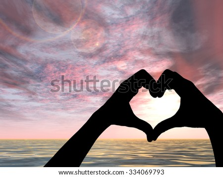 Concept heart shape or symbol made of human or woman and man hand silhouette over a sky and sea or water at sunset background for love, valentine, romantic, couple, wedding, romance, summer or sunrise