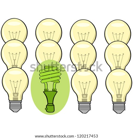 Concept illustration showing a green fluorescent lamp standing out among regular incandescent ones