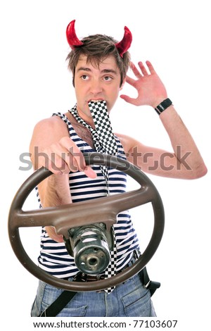 concept image of crazy driver white background isolated studio image