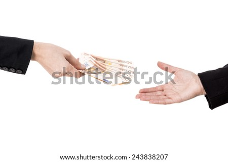 Concept image of hands making and receiving a payment, isolated over white background