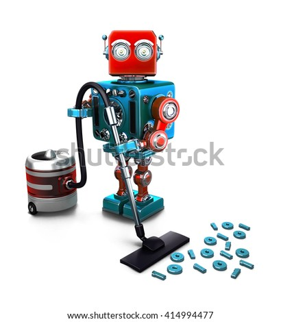 Concept of a Robot that vacuums digits on the floor. 3D illustration. Isolated. Contains clipping path.