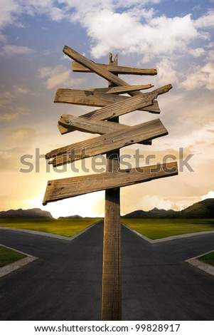 Concept of being lost with a roadsign, crossroads