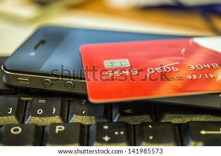 Concept of e-commerce with the credit card