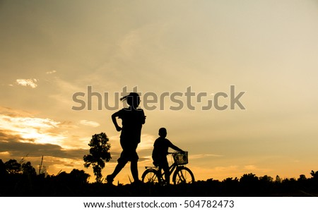 Concept of  fitness silhouette sunrise  workout wellness