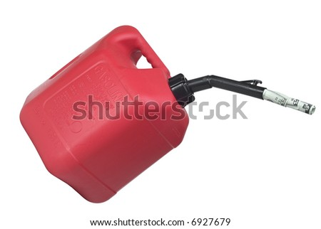 Concept of gas can pouring money. Isolated on white