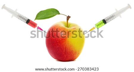 Concept of genetic modification of fruits and chemical treatment