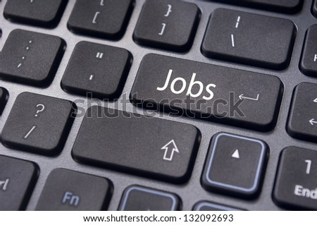 concept of job searching with a message on enter key of keyboard.