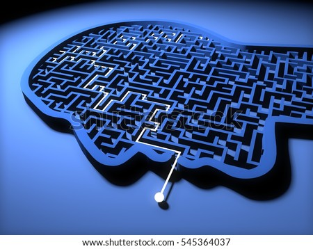 Concept of Mental health, Human head in shape of maze or labyrinth. 3D Rendering,