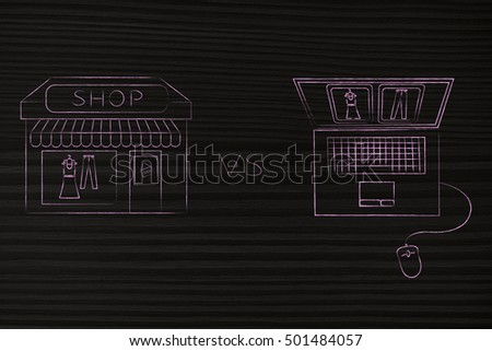 concept of online shops vs physical store: illustration brick and mortar place next to computer with the same items on a website